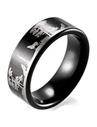 SHARDON Men's 8mm Black Tungsten Ring with Engraved Wolves in Forest