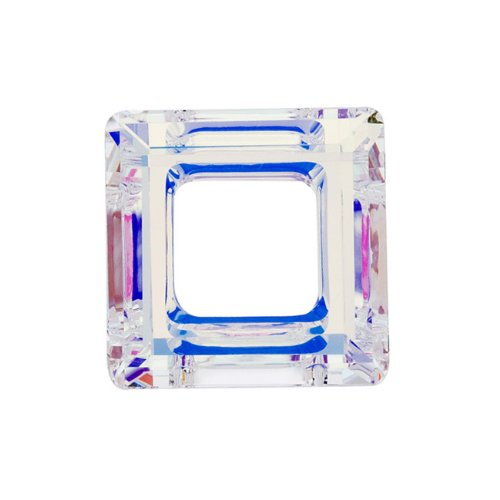Square Swarovski Ab Beads - Swarovski Crystal, 4439 Square Ring Pendant 14mm, 1 Piece, Crystal AB