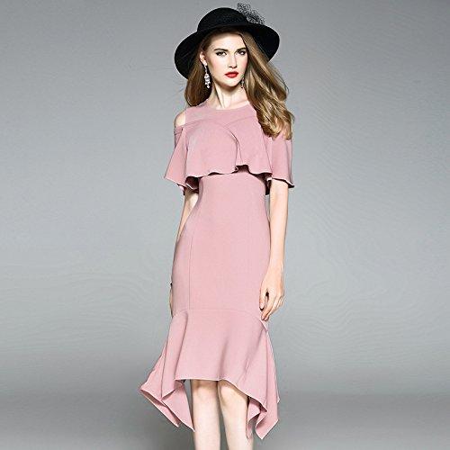 ZHUDJ Paquete Delgado Largo Vestido Vestido Marca Hip _ Irregular En Verano Pink