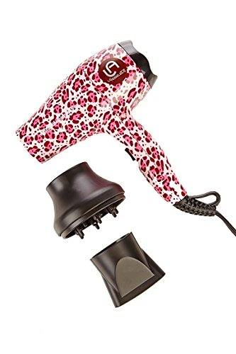 Le Angelique Mini Hair Dryer (Pink Cheetah) Super Strong Traveling Hair Dryer