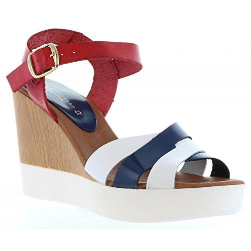 Sandalias de Mujer VAQUETILLAS 20144 CHAR BLANCO-ROJO