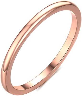 Greenpod Thin Tungsten Wedding Bands for Women Rose Gold Simple Classy Domed Style 2MM