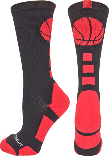 MadSportsStuff Basketball Logo Athletic Crew Socks, Medium - Black/Scarlet (Basket Ball Gifts)