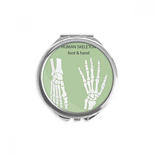 Human Skeleton Hand And Foot Mirror Round Portable Hand Pocket Makeup -