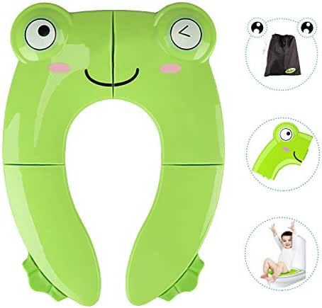 Portable Potty Seat for Toddler Travel - Foldable Non-Slip Potty Training Toilet Seat Cover for Boys/Girls, Baby/Kids with Drawstring Bag