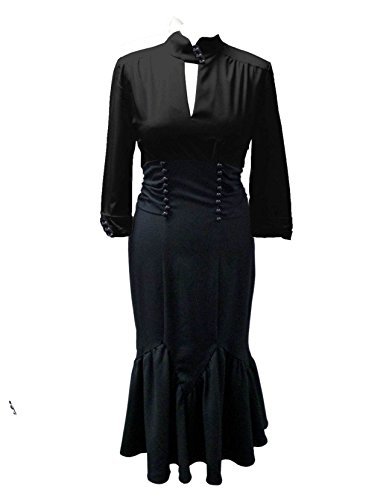 40s-Pin-Up-Black-Off-White-Tie-Back-High-Waist-Long-Blouse-Style-Sleeved-Dress-US-Size-6-26