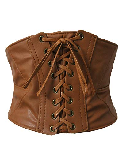 Alivila.Y Fashion Womens Leather Steampunk Underbust Waist Belt Corset A14-Light Brown-XL