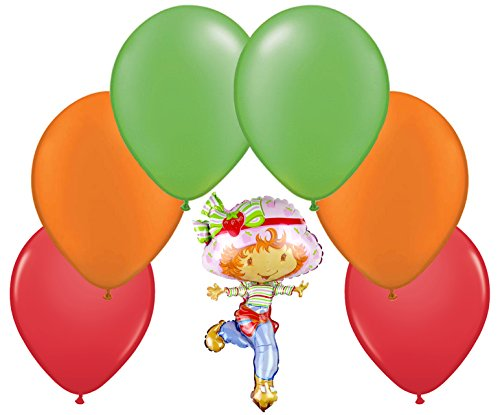 Strawberry Shortcake Latex and Foil Balloon Bouquet (7 Pcs) (Strawberry Loot Bag Shortcake)