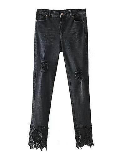 YFLTZ pour Pantalon Femmes Trou Dentelle Vacances en Black t Slim Coton Jeans Printemps H6HwpqrF