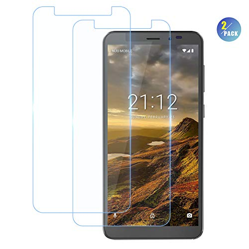 CiCiCat NUU Mobile A5L+ Screen Protector, [2-Pack] 0.26mm 9H Tempered-Glass Screen Protector, Premium HD Clear Hardness Tempered Glass Screen Protector Film for NUU Mobile A5L+. (2-Pack, 5.5'') (Mobile Glass)