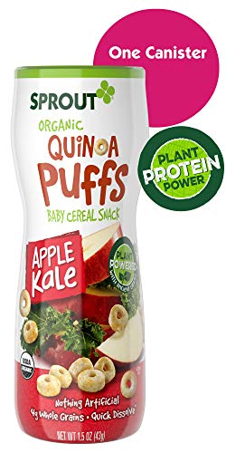 Sprout Organic Quinoa Puffs Baby Snacks, Apple Kale, 1.5 Ounce Canister (Single)