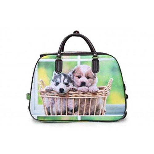 Deux Puppies vacances roue Voyage Avec Femme De Dee Sacs Sac Bagages Sac Sacage Taille Petit Voyage LeahWard® wOgZqaZ