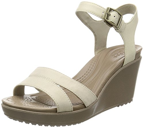 crocs Women's Leigh Ii Ankle Strap W Wedge Sandal, Oatmeal/Khaki, 6 M US