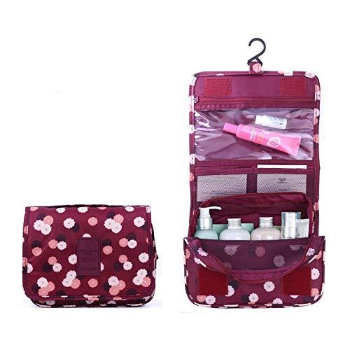 BryTravel Bolsa de Maquillaje portatil con multiples Compartimento Flor roja de Vino Normal