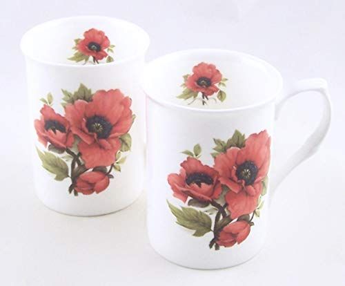 Fine Bone China Mugs - Set of Two - Autumn Poppy Chintz - Adderley of England