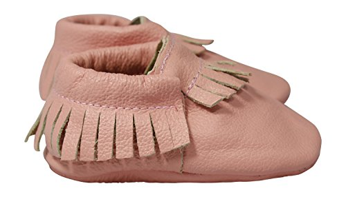 Lucky Love Baby Moccasins, Genuine Leather Pink Size 2 M (Pink Moccasin)