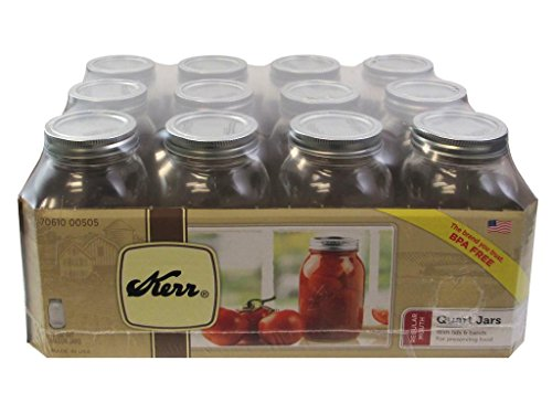 Kerr 1 Qt. (32 oz) Regular Mouth Canning Jars Set of 12 (Kerr Jar)
