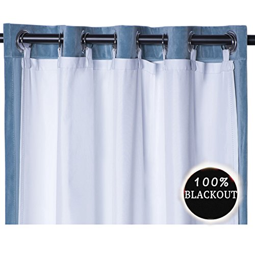 RHF Thermal Insulated Blackout Curtain Liner White Panel-Ring included- thermal liner for curtains/drapes,Curtain liner 100% Darkening,Blackout Liner for 84 inch curtains:50