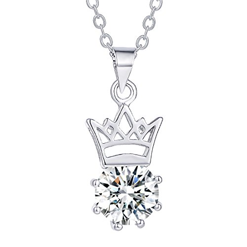 CULOVITY Womens Girls Dainty Zirconia Necklaces - Sparkling Crown Pendant White Gold Filled Jewelry 10-Styles Available