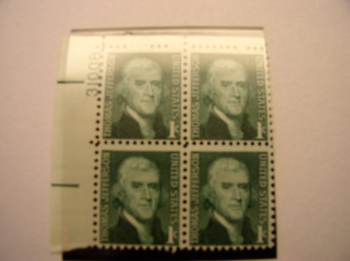 US Postage Stamps, 1968, Thomas Jefferson, S#1278, Plate Block of 4 1 Cent Stamps
