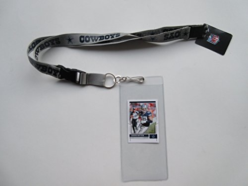 DALLAS COWBOYS SILVER LANYARD WITH TICKET HOLDER & COLLECTIBLE PLAYER CARD
