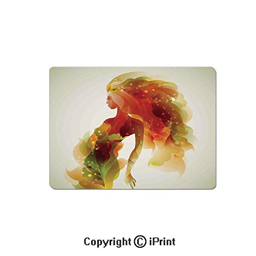 (Large Gaming Mouse Pad Girl Figure with Flowers and Leaves Floral Abstract Art Spring Theme Artwork Decorative Extended Mat Desk Pad Mousepad Non-Slip Rubber Mice Pads 9.8