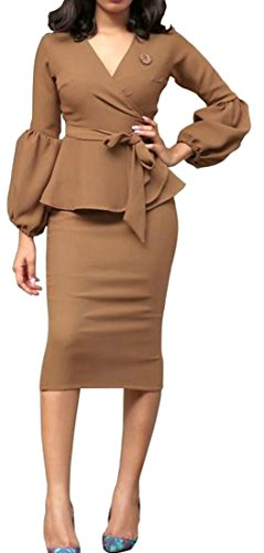 Puff Womens Brown Cromoncent Solid Dress Ruffles Sleeve Bodycon Pencil 4Bn5nqvw8