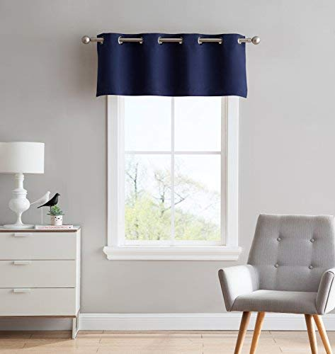 Nicole - 1 Straight Valance Curtain Panel - Premium Grommet Blackout - 54 inch Wide x 18 Long - Solid Thermal Insulated Draperies - Ideal for Any Room and Bedroom (1 Valance 54x18, Navy) (Bedroom Valances)