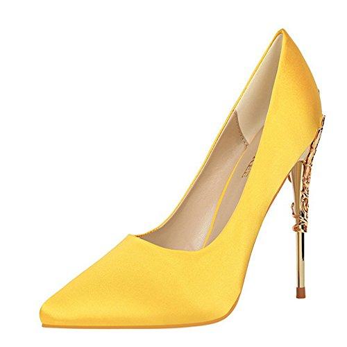 Manyis Sexy Femmes Chaussures De Soirée Stiletto Pointu Orteils Talons Hauts Pompes En Satin Chaussures En Métal Couleur Jaune Taille: Us7