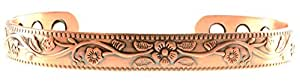 STUNNING PATTERNED DESIGN: MEDIUM SIZE - The unique patterned design of the bracelet was taken from wild flowers and herbs. The bangle can be adjusted to fit by gentle bending so that it suits your size. The bracelet can be worn as tightly or loosely as you need so that it feels comfortable.
