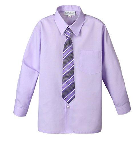 Spring Notion Big Boys' Cotton Blend Dress Shirt and Tie Set 10 Lilac
