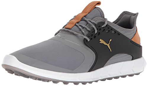 PUMA Golf Men's Ignite Pwrsport Golf Shoe, Quiet Shade/Team Gold/Black, 10 Medium US
