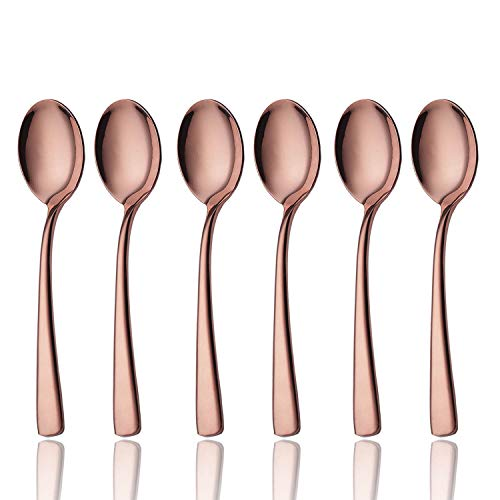 (Bouillon Spoon Set Rose Gold 6 Piece 18/8 Stainless Steel 6 inch Oval Bowl Round Soup Spoons Service for 6 Silverware Flatware Utensils Dinner Dishwasher Safe Mirror Polished by OMGard)