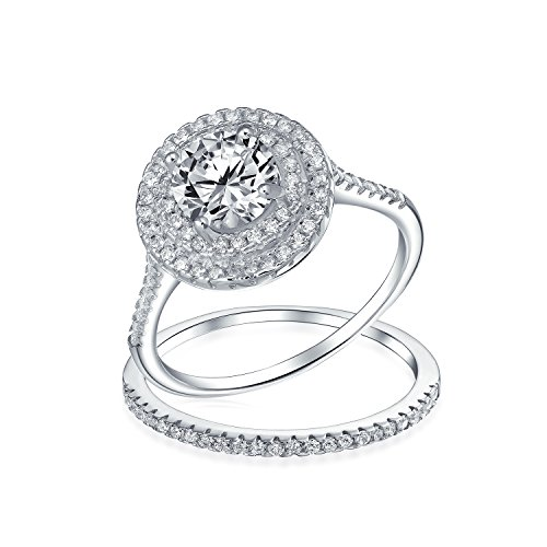 - 1 CT Round CZ Double Halo Pave Wedding Engagement Ring Set Cubic Zirconia Band Rhodium Plated 925 Sterling Silver