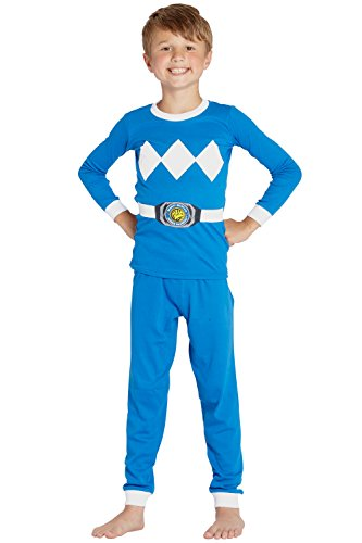 Saban Power Rangers Blue Ranger 2 Piece Tight Fit Costume Pajama Set, Blue, 8 ()