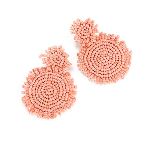 Pink Statement Round Beaded Hoop Bohemia Earrings Handmade Whimsical Drop Earrings for Women Jewelry, Idear Gifts for Mom, Sisters and Friends