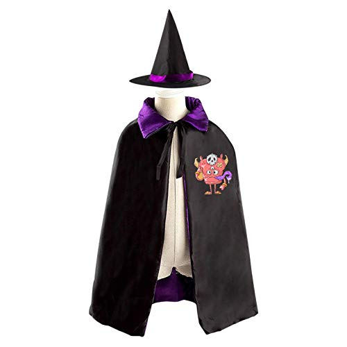 69PF-1 Halloween Cape Matching Witch Hat Pink Monster Wizard Cloak Masquerade Cosplay Custume Robe Kids/Boy/Girl Gift Purple]()