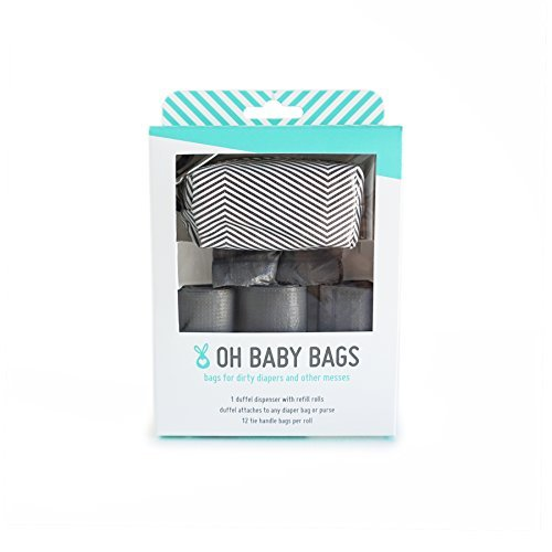 Oh Baby Bags Diaper Bag Clip-On Dispenser Gift Box with Disposable Bags for Dirty Diapers - Recycled Plastic - Gray and White Striped Duffle plus 48 Gray Unscented ()