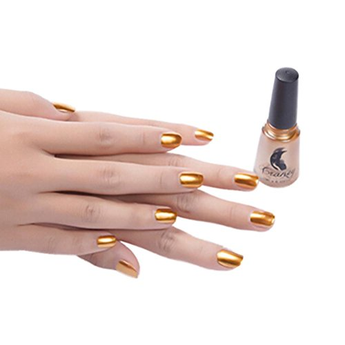Handle Mirror Polish (DZT1968 1box/6ml Mirror Long lasting Nail Polish Plating Silver Paste Metal widest Color Stainless Steel (Gold))