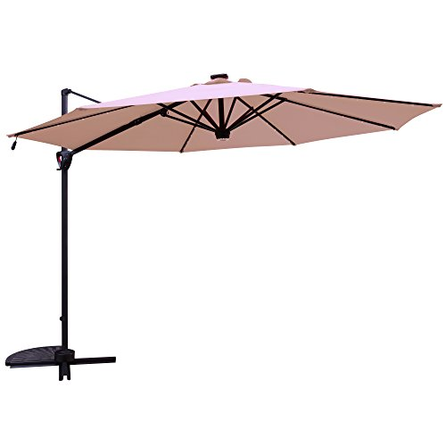 Patiorama Commerical 10 Feet Aluminum Solar Powered LED Offset Cantilever Outdoor Patio Umbrella with Bluetooth Stereo Speaker and Steel Cross Base, 250g/sqm Polyester, Beige ... ()
