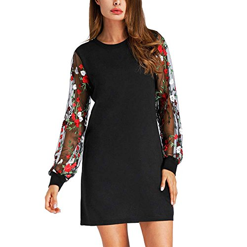 Women's Tunic Dress Long Sleeve Round Neck with Embroidered Floral Mesh Midi Dresses (M, Black) ()