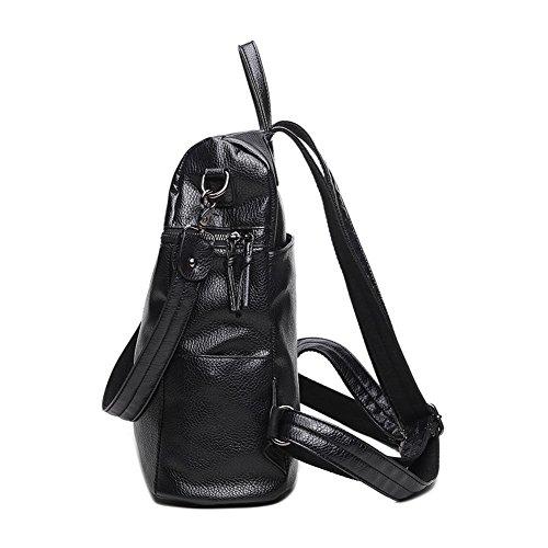 Sacs Dos AalarDom Femme Noir Rétro à Zippers Sacs Dacron des TAnxTqf