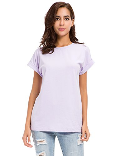 Armoire Cotton - MSHING Women's Simple Crew Neck Plain Loose T-Shirt Summer Casual Tops Purple