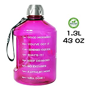 QuiFit 43 oz Motivational Water Bottle – with Time Marker & Handle BPA Free Reusable Sports Water Jug Helps You Drink…