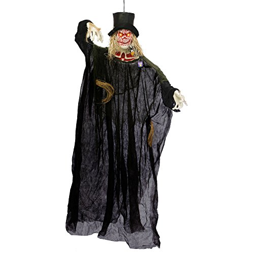 Halloween Haunters Hanging 6 Foot White Pumpkin Head Scarecrow Ghost Reaper with Orange LED Eyes Prop Decoration - Creepy Ghoul Laughs, Evil Blood Face - Haunted House Graveyard Entryway Display ()