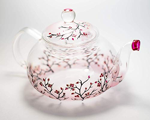 Hand Painted Cherry Blossom Sakura Teapot Glass Tea Pot with Removable Infuser, Handmade Floral Wedding Gift Free Personalization, 3 sizes to ()