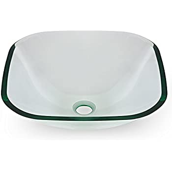 Miligoré Modern Glass Vessel Sink - Above Counter Bathroom Vanity Basin Bowl - Square Clear