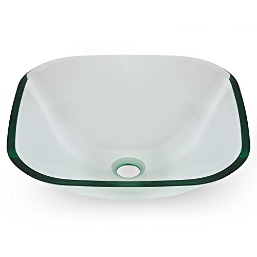 Tempered Glass Vessel Bathroom Vanity Sink Square Bowl, Clea