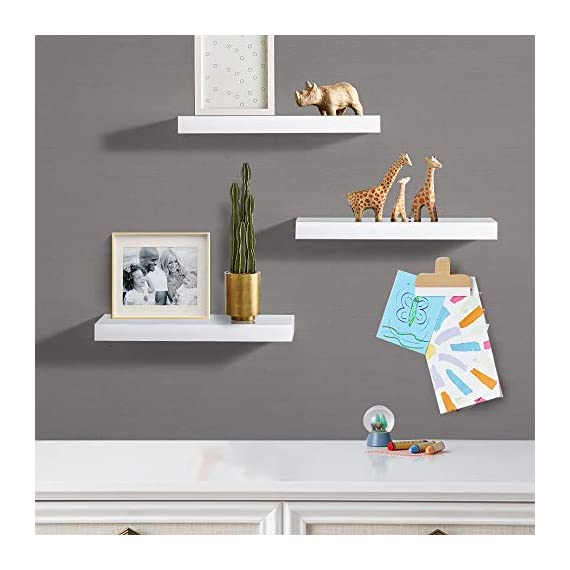 """INART White Floating Shelves Wall Mounted Display Ledge Storage Shelf, Easy To Install, Set of 3 (5.9"""" Deep) - DECORATIVE WALL SHELF: Decorative and functional for your home, office, or dorm room; use to display vases, small pictures and more HIGH QUALITY: Made of lightweight and high quality MDF. These wall shelves are fits in any room WALL MOUNTED SHELF DIMENSION: 14.9 in W x 1.3 in H x 5.9 in D - wall-shelves, living-room-furniture, living-room - 41pxmak8bkL. SS570  -"""