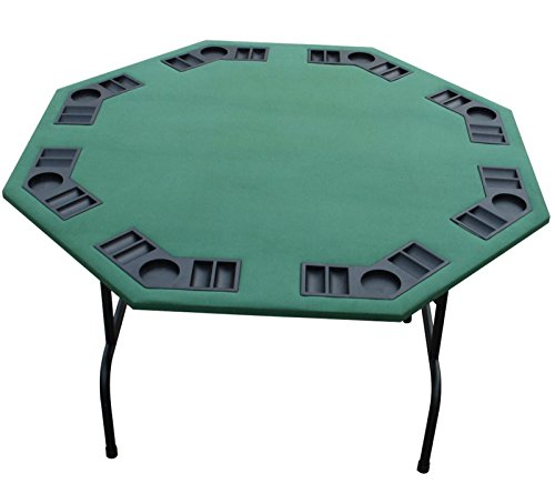 "52"" Green Poker Table. Black Red Burgundy Felts Available. For Texas Holdem, Cards, Games. Folding Steel Legs, 8 Player. (Green, 52"